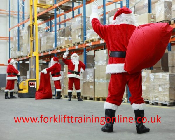 christmas forklift truck, christmas in a warehouse